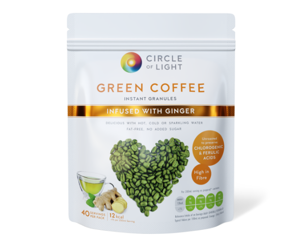 Unroasted Green Coffee drink Infused with Ginger. Natural remedy for high cholesterol and blood pressure.