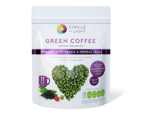 Unroasted Green Coffee drink infused with Green and Herbal Teas.