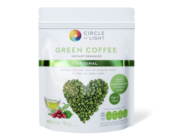 Unroasted Green Coffee Drink. Natural remedy for high cholesterol and blood pressure.